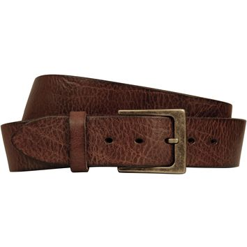 Lato Curved Handmade Leather Belt - Burnished Brown