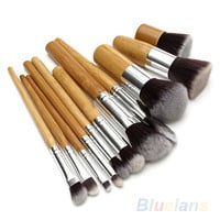 11 Pcs Wood Handle Eyeshadow Foundation Concealer Professional Brush Set