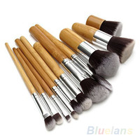 11Pcs Wood Handle Makeup Cosmetic Eyeshadow Foundation Concealer Brush Set brushes 02Q6