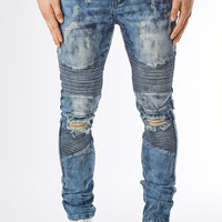 JN151 Ripped Acid Wash Biker Denim - Blue