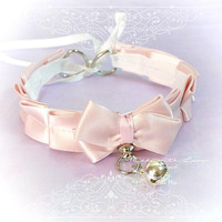 BDSM Kitten Play Princess Cat Collar Choker Necklace Pale Pink Bow O Ring Bow pastel goth Lolita Daddys Girl Neko DDLG Adult Baby