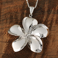 White Gold Plumeria Pendant 34mm - Makani Hawaii,Hawaiian Heirloom Jewelry Wholesaler and Manufacturer