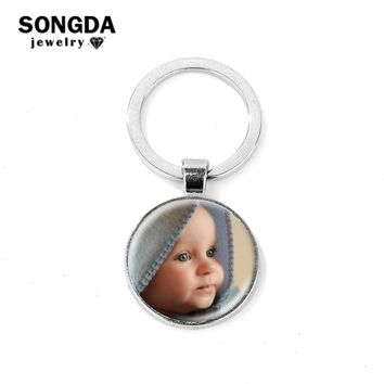 SONGDA Personalized Photo Keychain Custom Family Member/Your Name/Fashion Logo/Lover Couple Key Ring Best Gift for Family Friend