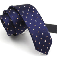 Slim Blue Tie with Orange and White Floral Design