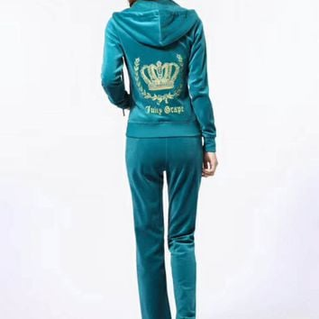 Juicy Couture Fashion Casual Long Sleeve Zipper Hoodie Long Pants J Velvet Two Piece Set  Lack blue G-ALNZ