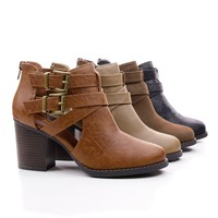 Scribe Round Toe Dual Buckle Side Cut Out Block Stacked Heel Ankle Bootie