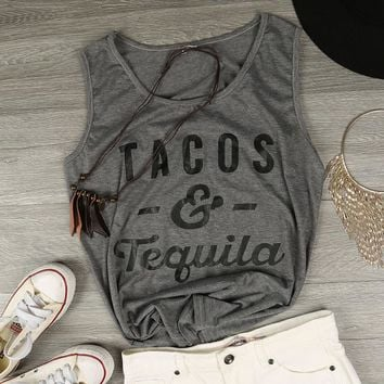 """""""Tacos & Tequila"""" Casual Summer Tank Top"""