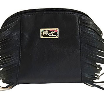 Betsey Johnson Medium Fringe Cosmetic Bag (BLACK/BLACK)