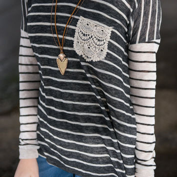 Some Stripe Of Way Top, Charcoal