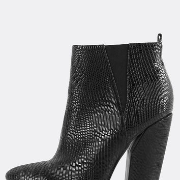 Pointy Toe Snake Ankle Booties BLACK | MakeMeChic.COM