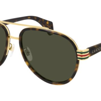 Gucci - GG0447S 58mm Dark Havana Sunglasses / Green Lenses