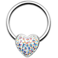"14 Gauge 1/2"" Aurora Heart Crystal Ice Captive Nipple Ring 