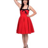 1950s Style Red Sara Stretch Swing Dress