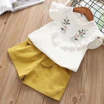 2018 Summer New Girls Embroidered Shirt and Shorts Set