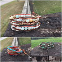 Stunning leather 5 strand wrap bracelet with amolite and gold accents