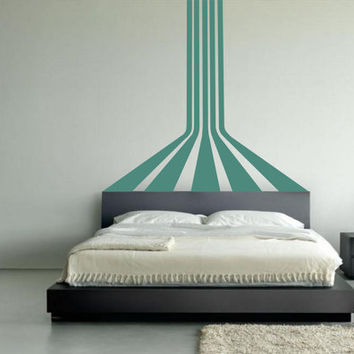 3D parallel stripes wall art - removable vinyl wall decal / sticker optical illusion for kids room living rrom or play room