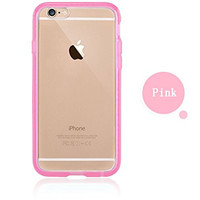 Colorful POPO Clear Hard PC Back Panel Hybird Soft TPU Bumper Case with Bling Rhinestone Diamond Frame for iPhone 6 Plus& 6s Plus 5.5 Inch (Pink)