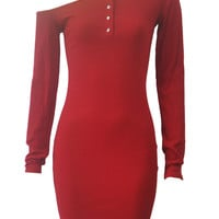 Red Off Shoulder Button Front Ribbed Long Sleeve Bodycon Dress