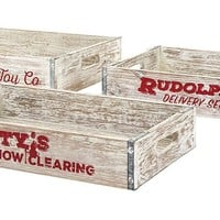 Homestead Christmas Decorative Crate Trays - Set of 3