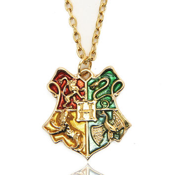 2016 New Harry Potter Necklace Anime Hogwarts School Badge Pendant  Necklace Harry Potter Hogwarts Badge Pendant Necklace- Best Christmas Gift