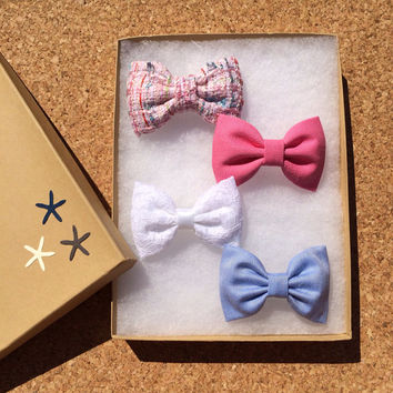 Textured pink, bright pink, white lace and light blue shirting Seaside Sparrow hair bow lot. Perfect birthday present for her.