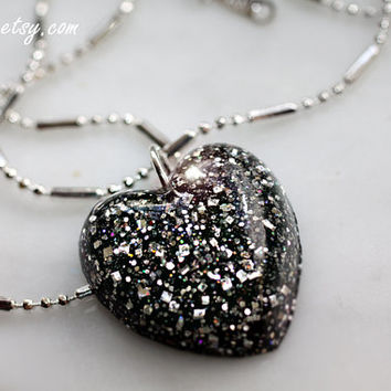 Elegant Black & Silver Resin Glitter Necklace Heart Pendant, Petite glitter heart charm necklace, all occasion gift idea for her by isewcute