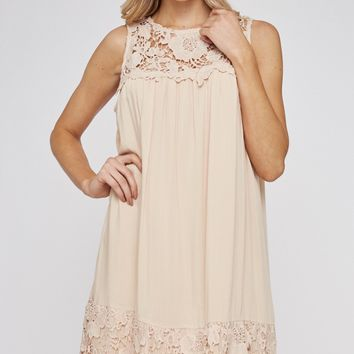 Embroidered Shift Dress Peach