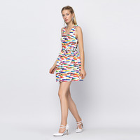 Printed Rainbow Color Sleeveless Mini Skater