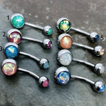 14 gauge stainless steel opal belly button rings.......choose a color
