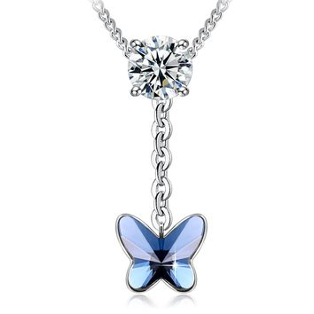 "Swarovski Element Necklace Blessed Dual Love Hearts Butterfly Pendant Necklace with Swarovski Crystals, 18"", Birthstone Birthday Gifts for Women, Valentine's Gifts"