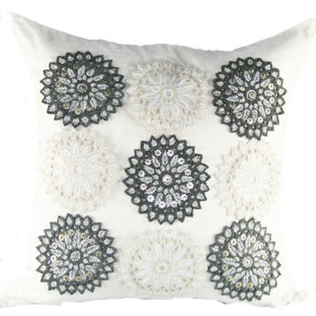 Design Accents ANAI 16-20x20 Cotton Linen With Felt Cutwork 20 x 20 Decorative Pillow
