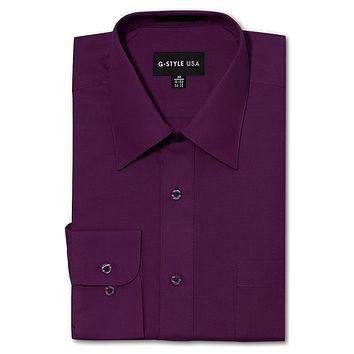 Men's Basic Solid Color Button Up Dress Shirt (Wine)