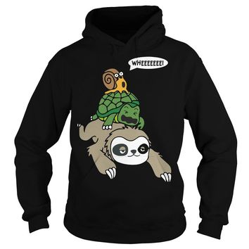 Sloth, Turtle and Snail Piggyback Funny Running Wild T-Shirt Hoodie
