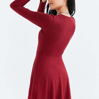 Kimchi Blue Cozy Plunging Fit + Flare Mini Dress - Urban Outfitters