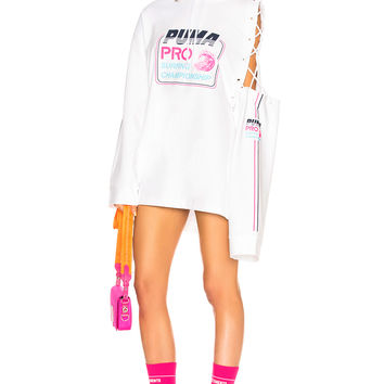 Fenty by Puma Side Laced Hoodie Dress in Bright White | FWRD