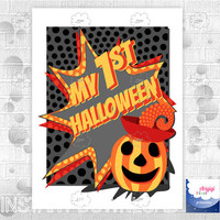 My 1st Halloween, printable poster, kids photo prop, printable sign for children portrait, large poster,  download