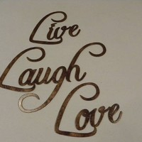 Live, Laugh, Love Words Fancy Script Antique Copper Paint Metal Wall Art 3 Piece Set