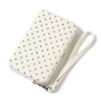 Faux Leather with Diamond and Round Sequins Smartphone Wristlet  | Icing