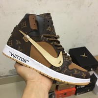 "LV x Nike Air Jordan 1 ""Borwn"" Men Women Basketball Shoes Sneaker"