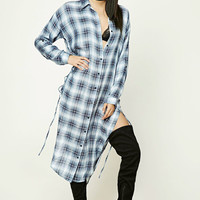 Longline Plaid Shirt Dress