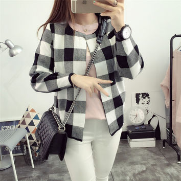 2016 Autumn Womens Plaid Cardigan Women Loose Sweater Outwear Knitted Jacket Coat Jumper Gilet Femme Manche Longue