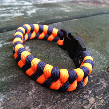 Navy Blue and Orange Fishtail Weave Paracord Survival Bracelet in listed sizes or custom fitted just for you
