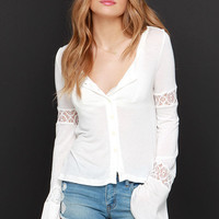 White Crow Libra Ivory Lace Long Sleeve Top
