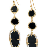 Gold Bezel Set & Black Epoxy Statement Earrings | Allegra Earrings | Stella & Dot