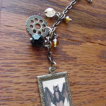 Purse charm Steampunk Bat charm gothic purse charm with beads and gear