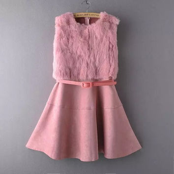 Fur Sleeveless Suede Dress With Belt