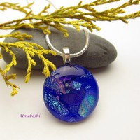 Purple Planet Brilliant Dichroic Glass Handmade Cabochon Pendant | Umeboshi - Jewelry on ArtFire