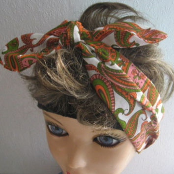 Hair Bandana, Rockabilly Head scarf, Vintage Fabric Headband, PINUP,  Retro Style, 50s Head Wrap, Dread Wrap
