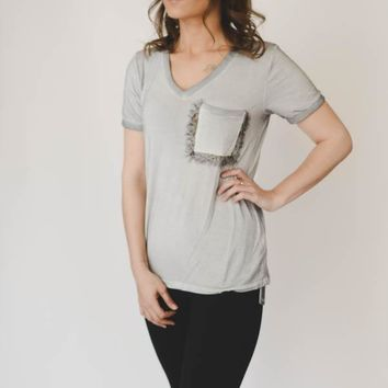 Floral Pocket Tee - Gray
