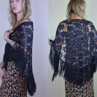 Vintage Black Floral Lace Heavy Fringe Flapper Revival Shawl